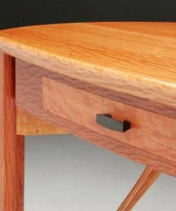 Detail of The Dancer hall table in she oak, wenge and ebony