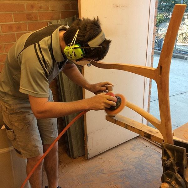 Alex MacFarlane shaping a blackwood Werriwa