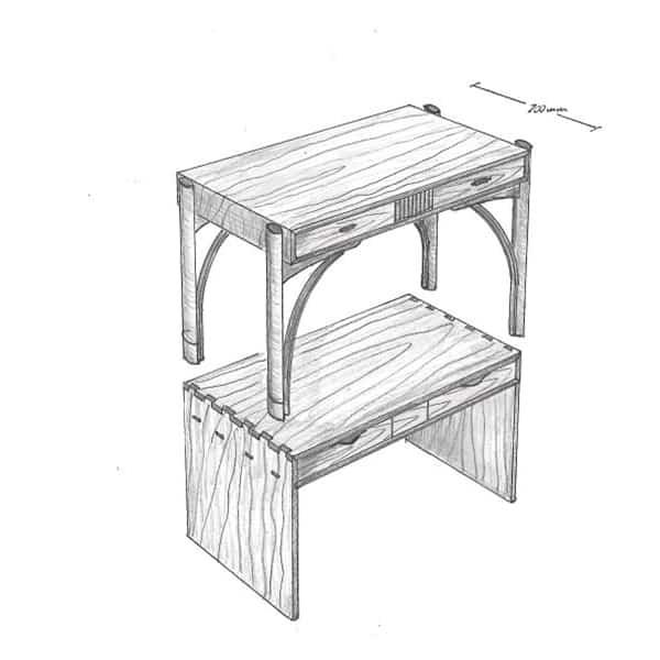 drawings of desks