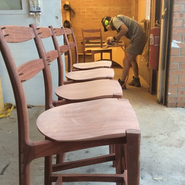 Making jarrah Tamar Stools at Dunstone Design.