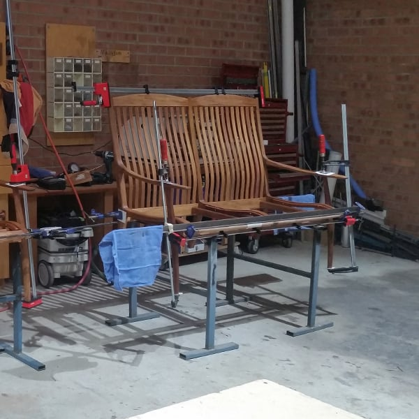Gluing up a Werriwa Double Lounge chair
