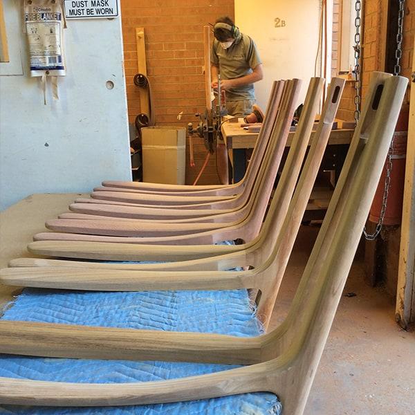 Alex MacFarlane shaping blackwood and jarrah Werriwa Lounge Chairs.