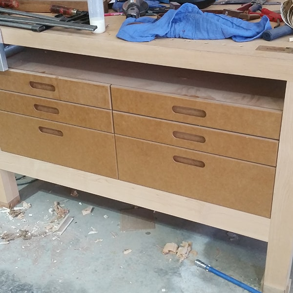 Dunstone Gordon workbench in rock maple and bamboo