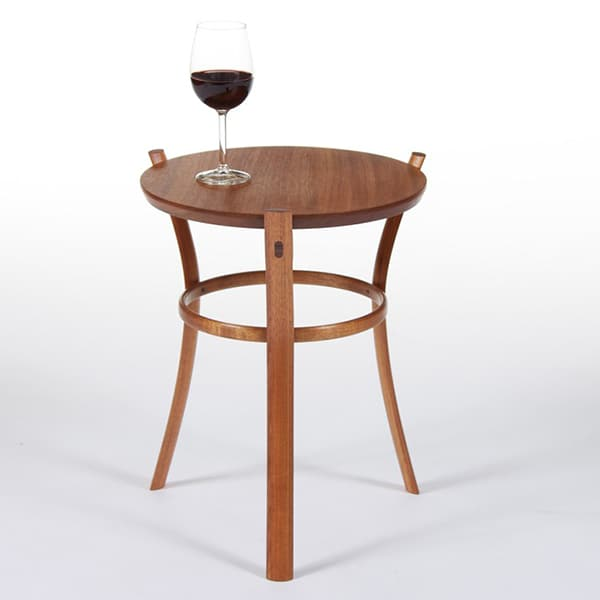 Australian made small solid timber three legged Pirouette Occasional Table in jarrah by Dunstone Design
