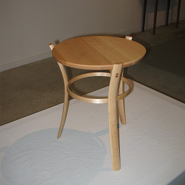 Pirouette Occasional Table in rock maple with jarrah detailing