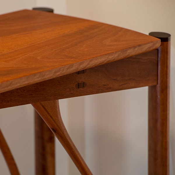 Stork Hall Table in red gum and wenge