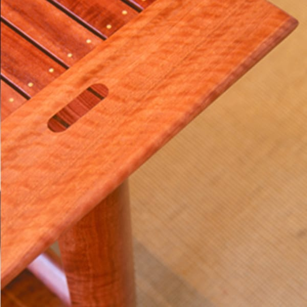 Detail of a Watershed Coffee Table in red gum with wenge details