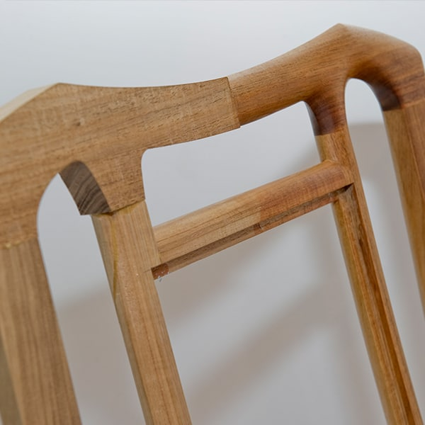 Crest rail of a Cascade Rocking Chair showing some of the shaping