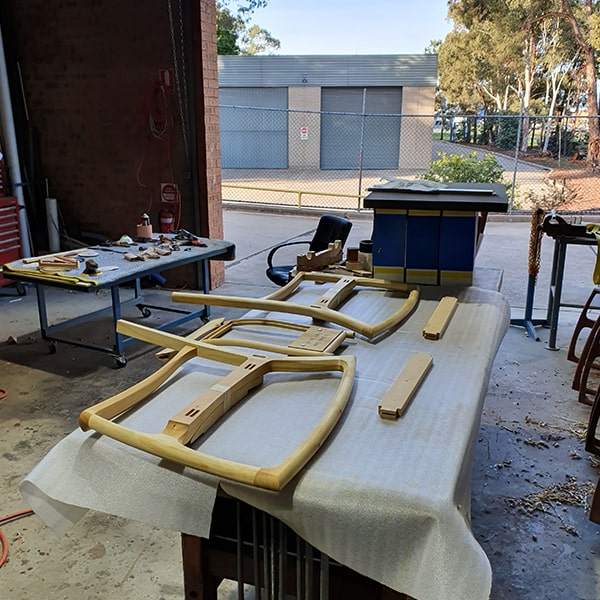 Cascade Rocking chair components ready for glue-up