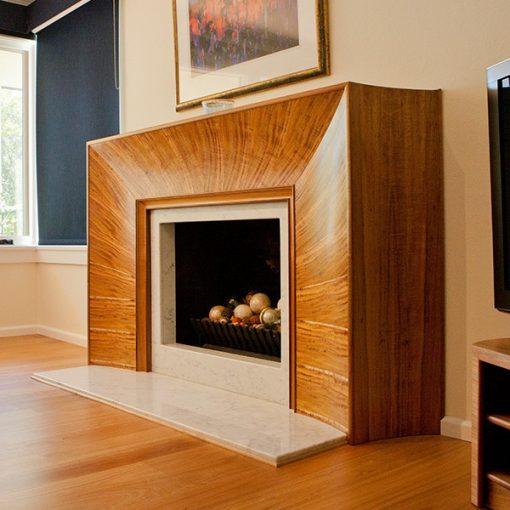 Fireplace in highly figured Otways blackwood