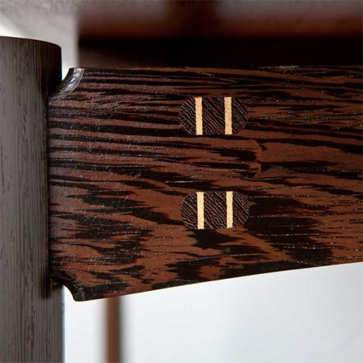 Detail of a Jindabyne Coffee Table in red gum with wenge and rock maple detailing.