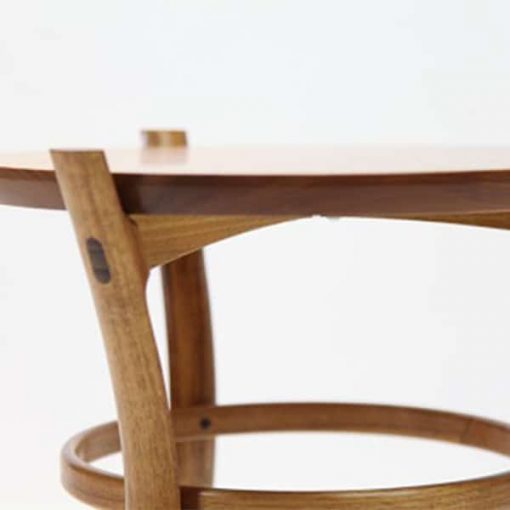 Detail of a Pirouette Occasional Table in blackwood