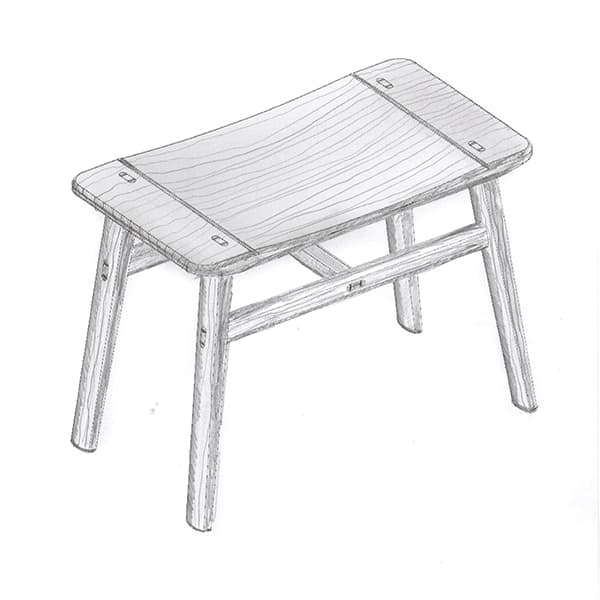 River Stool drawing