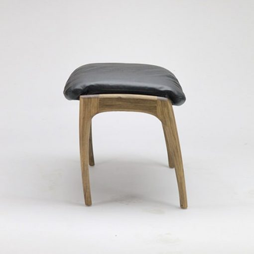 Australian made timber and upholstered Sexton Werriwa Foot Stool in blackwood and leather