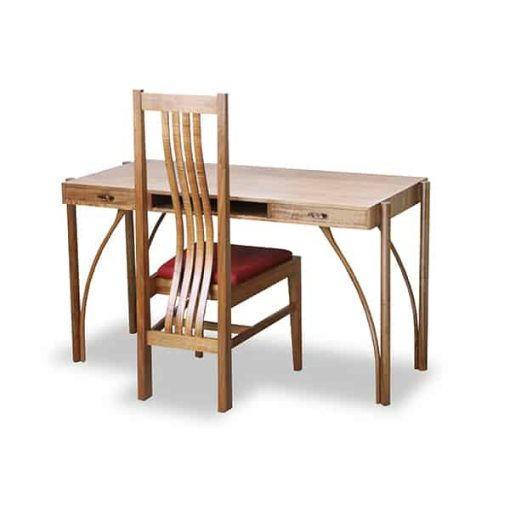 The Kingston desk in highly figured blackwood with matching Fallingwater chair