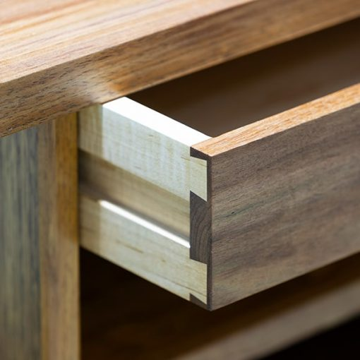 Drawer detail of Ben Hall Desk in blackwood, rock maple and gidgee
