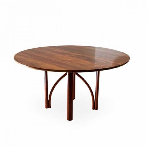 Arc round dining table in blackwood and jarrah