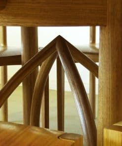Arc round dining table in Southern blue gum