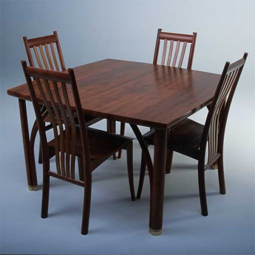 Confluence 4 seat dining table in red gum with silver ash and Clearwater chairs